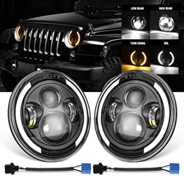 7 Inch Round LED Headlight Lamp Angel Eye Halo Ring For Jeep Wrangler JK TJ LJ
