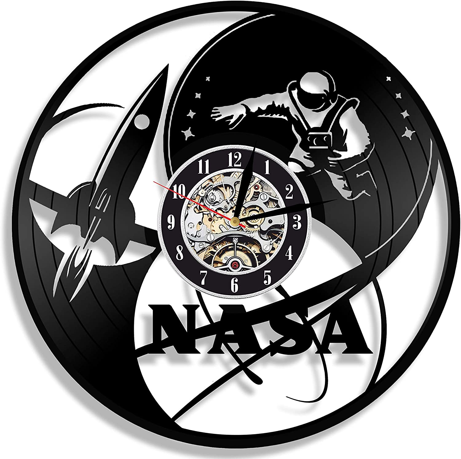Levescale - NASA Vinyl Wall Clock - Exclusive Space Design - Perfect Science Gift for Teacher, Scientist, Man Or Woman - Decoration for Classrom, Office - Aero Shuttle