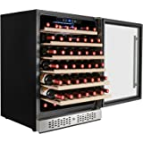 AKDY 54 Bottles Single Zone Built-in Compressor Freestanding Touch Control Panel Freestanding Wine Cooler Cellar