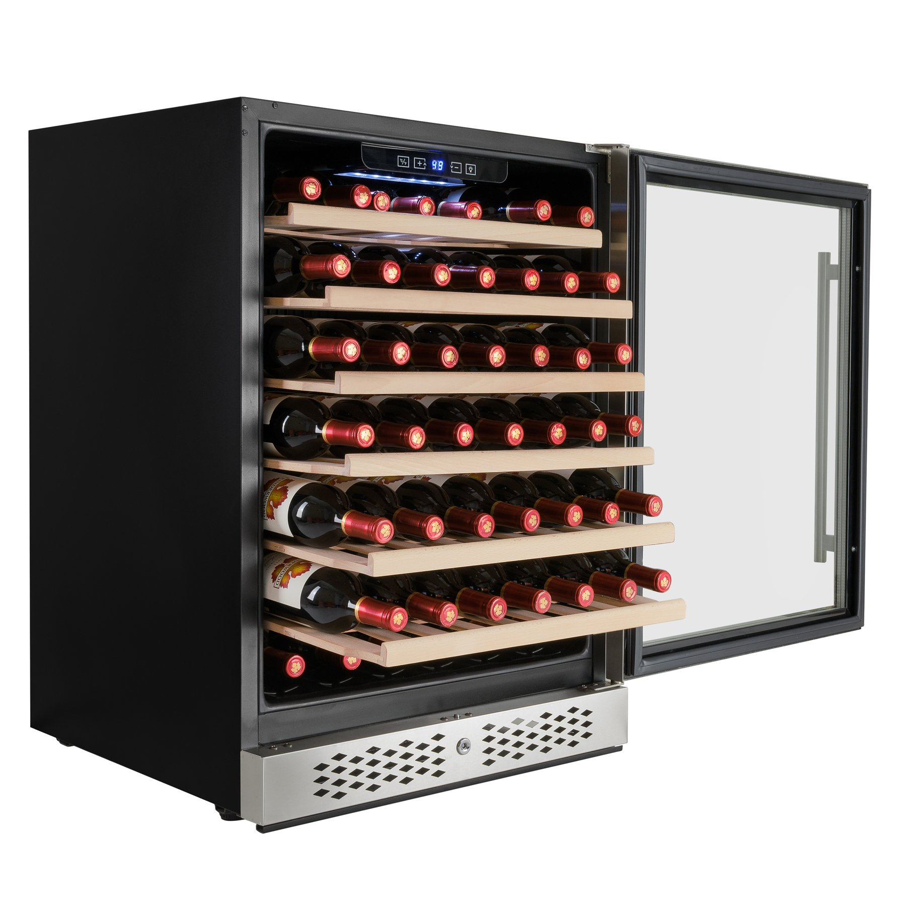AKDY 54 Bottles Single Zone Touch Control LED Display Built-in Compressor Freestanding Electric Wine Cooler Cellar