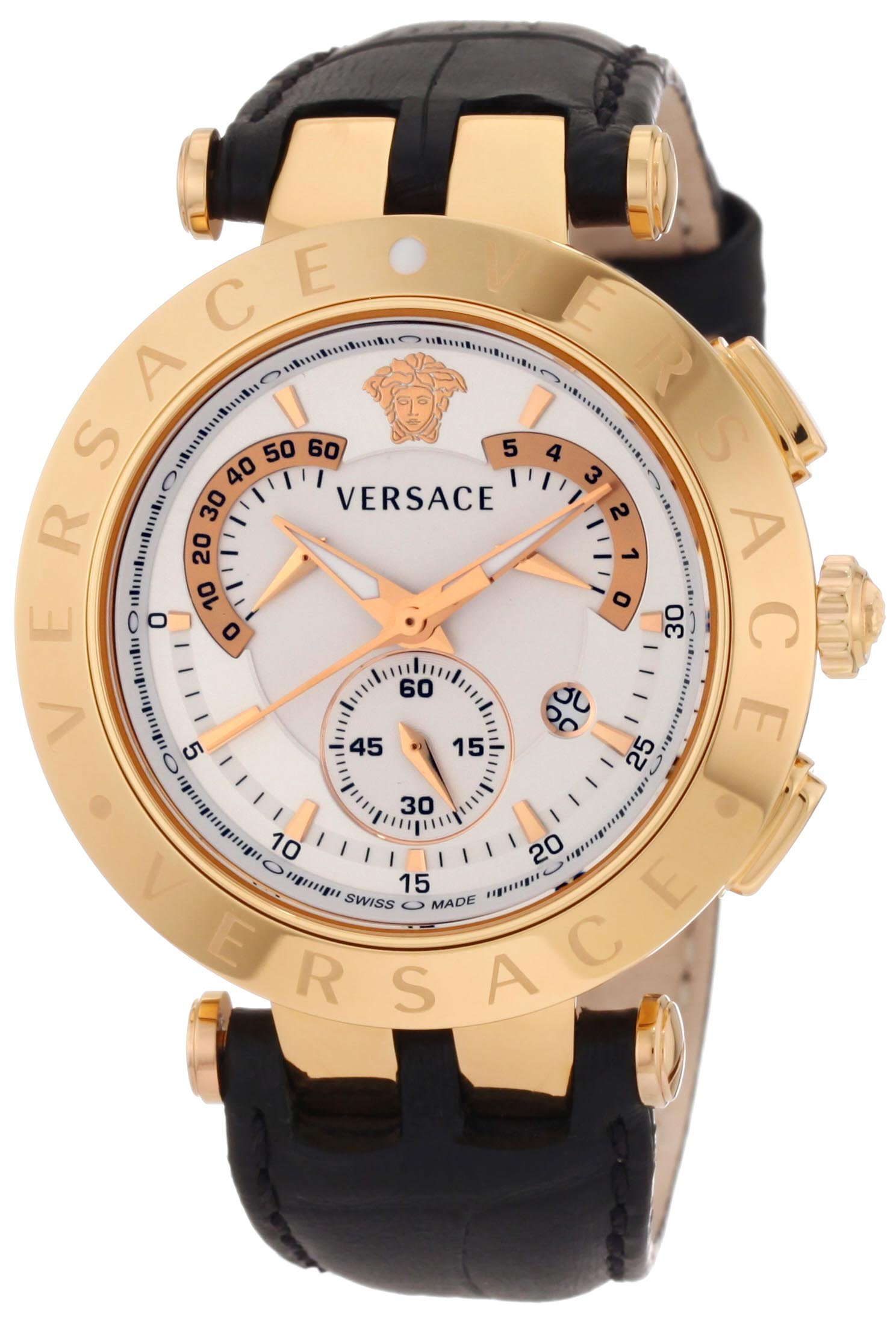 Versace Men's 23C80D002 S009 ''V-Race'' Rose Gold-Plated Watch with Black Leather Band