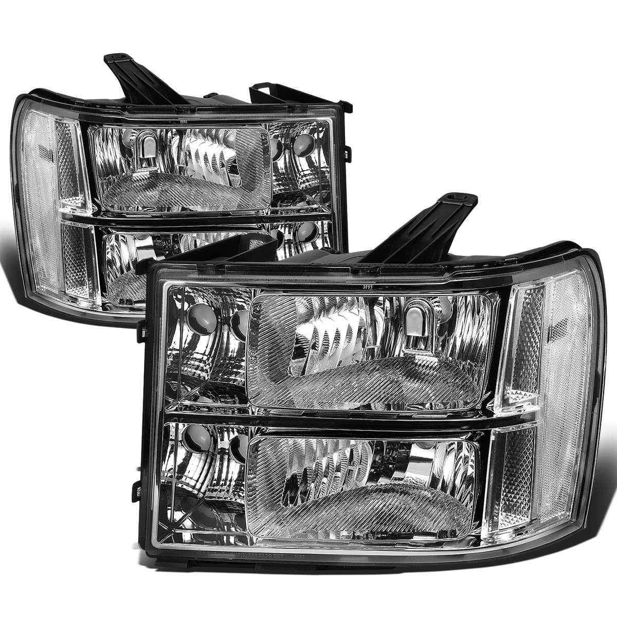 For GMC Sierra GMT 900 Pair of Chrome Housing Clear Corner Headlight Replacement Auto Dynasty