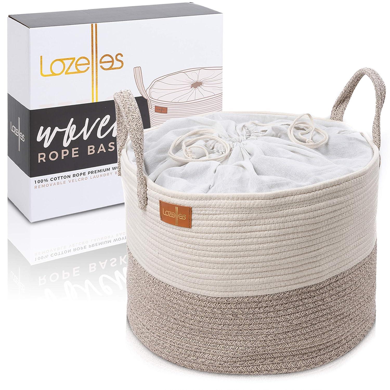 Lozelles XXXL Woven Rope Basket   Premium Cotton Blanket Storage   Dog Toy Basket   Toy Storage Organizing Basket   Baby Laundry Hamper   Laundry Bag Included   Living Room Storage Bin