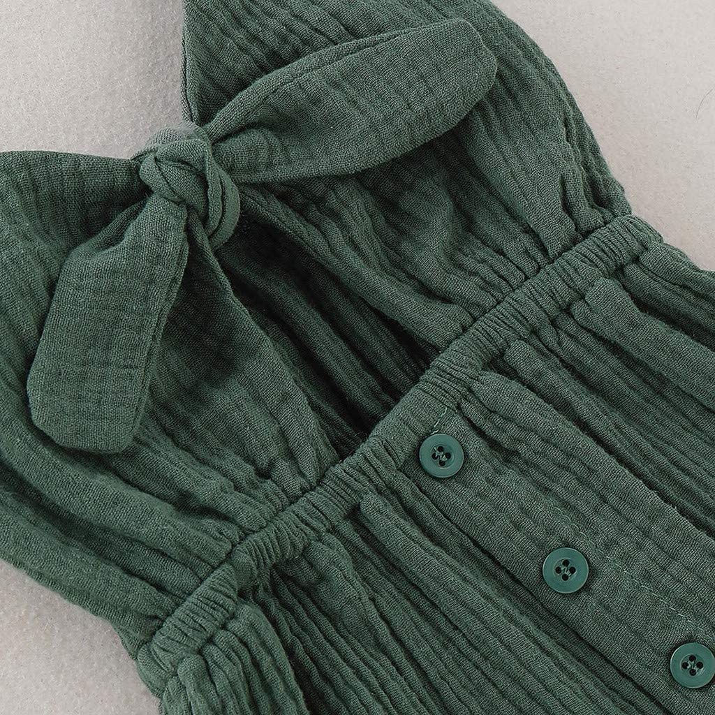Toddler Kid Baby Girl Dress Fashion Cotton Linen Solid Color Sleeveless Bowknots Button Dress Skirts Clothes