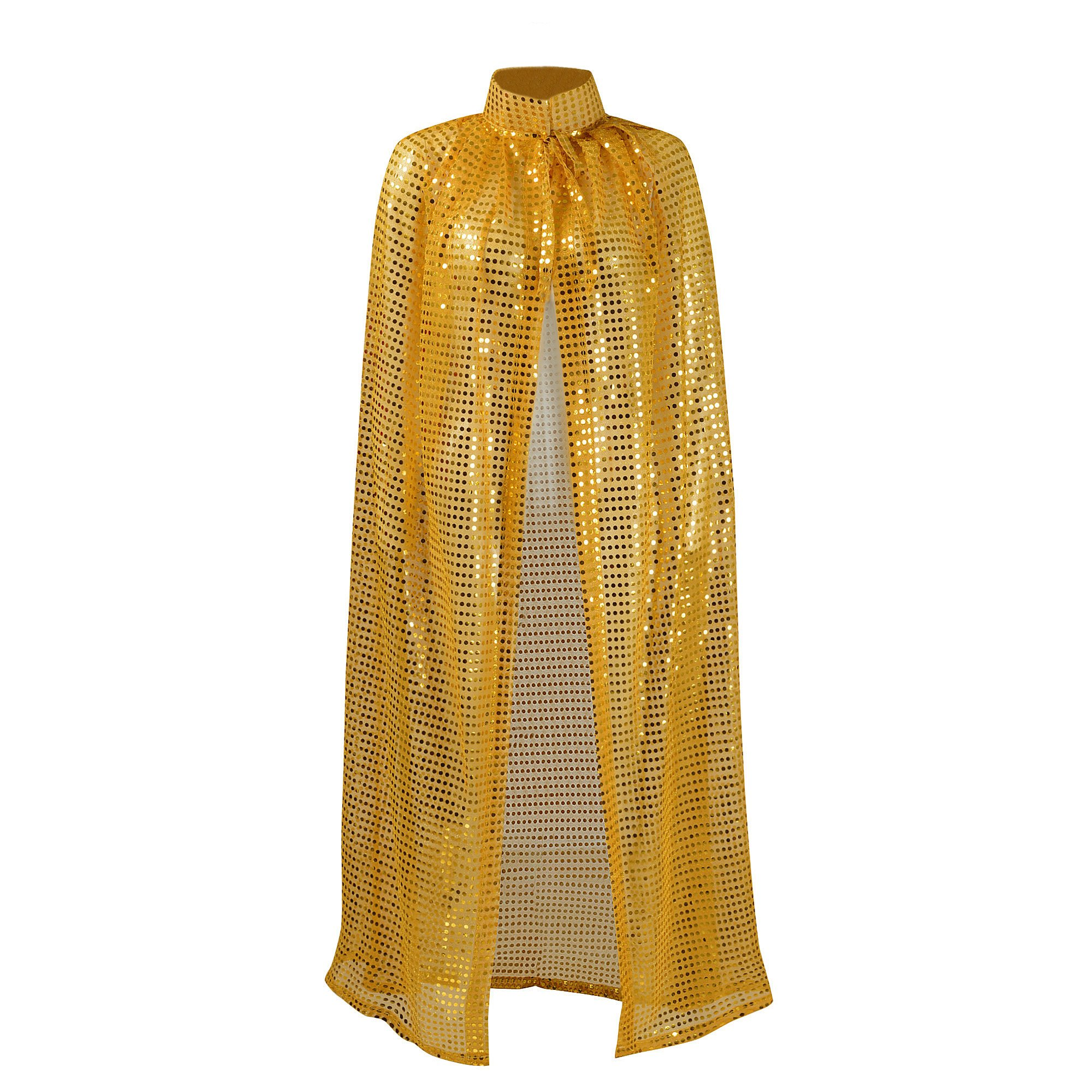 Ladies Cloaks Full Length Colored Sequins Goddess Cape Halloween Christmas Outerwear (Gold)
