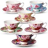 BTaT- Tea Cups, Tea Cups and Saucers Set of 6, Tea Set, Floral Tea Cups (8oz), Tea Cups and Saucers Set, Tea Set, Porcelain Tea Cups, Tea Cups for Tea Party, Rose Teacups, China Tea Cups (Bone China)