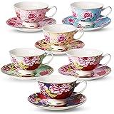 BTaT- Tea Cups, Tea Cups and Saucers Set of 6, Tea Set, Floral Tea Cups (8oz), Tea Cups and Saucers Set, Tea Set…