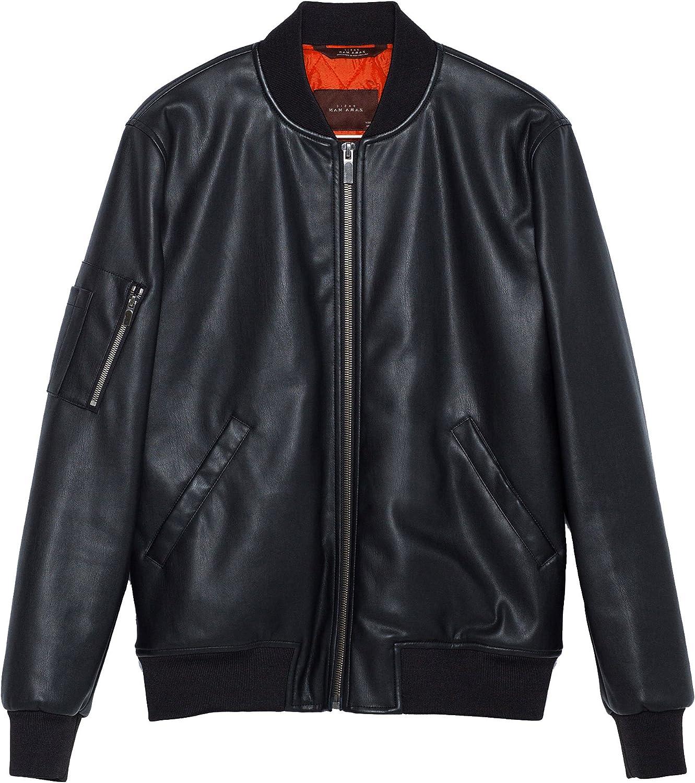 Zara Faux Pelle Uomo Basic Bomber Giacca B1one310 Black XL