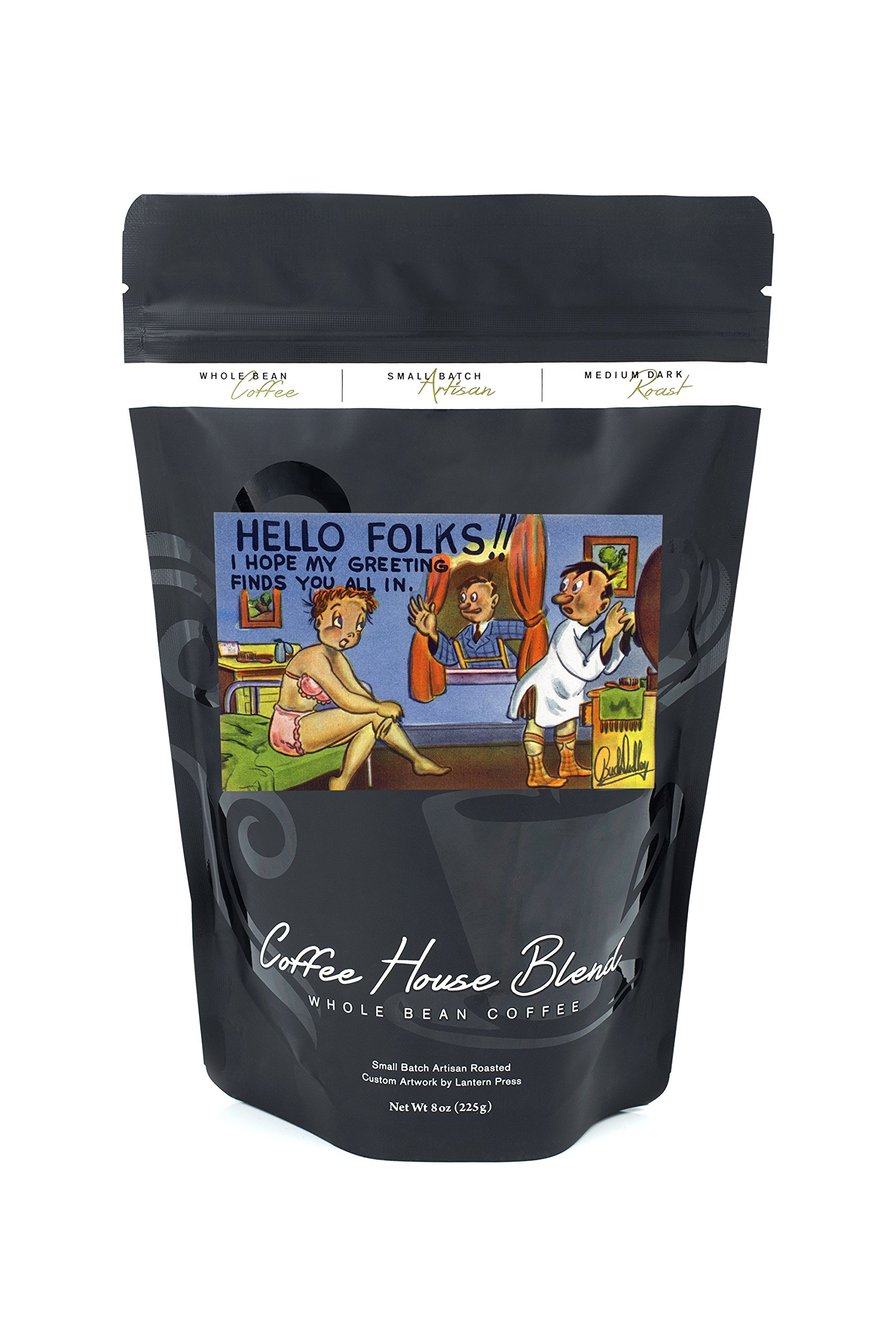 Comical Cartoon - Man on Ladder in Window, Couple Getting Dressed, Greetings (8oz Whole Bean Small Batch Artisan Coffee - Bold & Strong Medium Dark Roast w/Artwork)