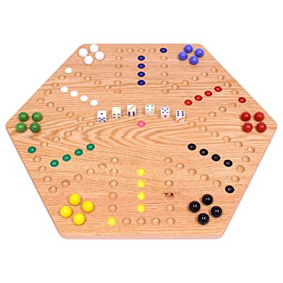 "AmishToyBox.com Oak-Wood Hand-Painted Double-Sided Wooden Aggravation Marble Game Board, 20"" Wide: Toys & Games"