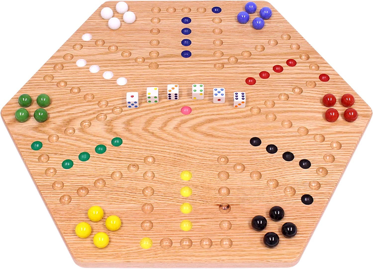 """AmishToyBox.com Oak-Wood Hand-Painted Double-Sided Wooden Aggravation Marble Game Board, 20"""" Wide"""