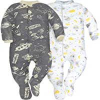 Sibinulo Niño Niña Pijama Bebé Pelele de Algodón- Tamaños 56-74 - Pack de 2