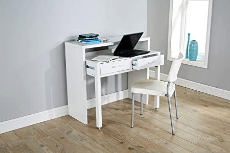 Elegant White Desk Extending Console Table Home Office Computer Storage Table Regis