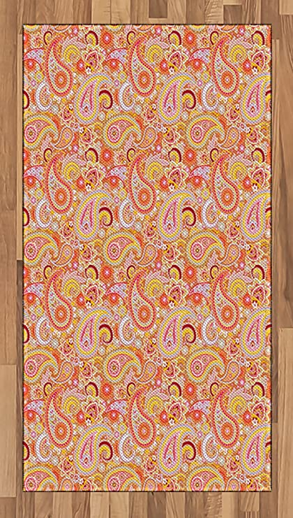 Ambesonne Orange Area Rug, Asian Design Elements Traditional Paisley Floral Pattern Swirls Leaves Ethnic Motif