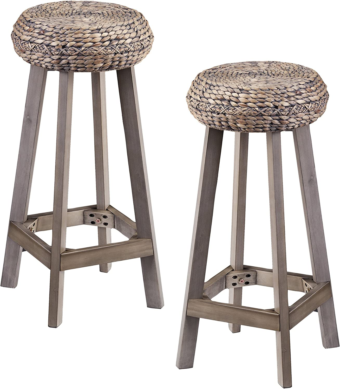 Furniture HotSpot Rattan Backless Bar Stools, Wooden Bar Height Stools, Set of 2