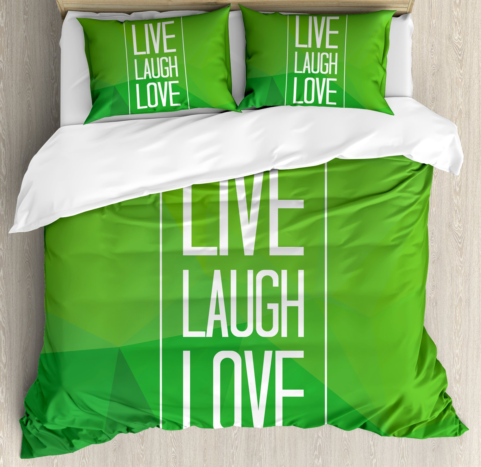 Live Laugh Love Duvet Cover Set Queen Size by Ambesonne, Triangular Polygon Background with Rectangle Frame with Motivation, Decorative 3 Piece Bedding Set with 2 Pillow Shams, Apple Green White