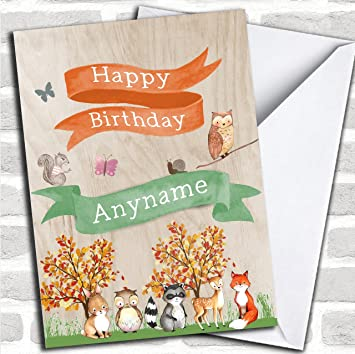 Cute Woodland Animals Childrens Birthday Customised Greetings Card Cards Amazoncouk Office Products