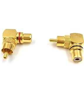 CDL Micro Single RCA 90 Degree Splitter M-F-F Male-Female-Female Adapter Gold Pack of 2