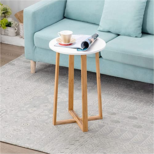 Zoopolyn Babmoo Modern Nightstand Rround Side Table Small End Bedside Tray Accent Desk