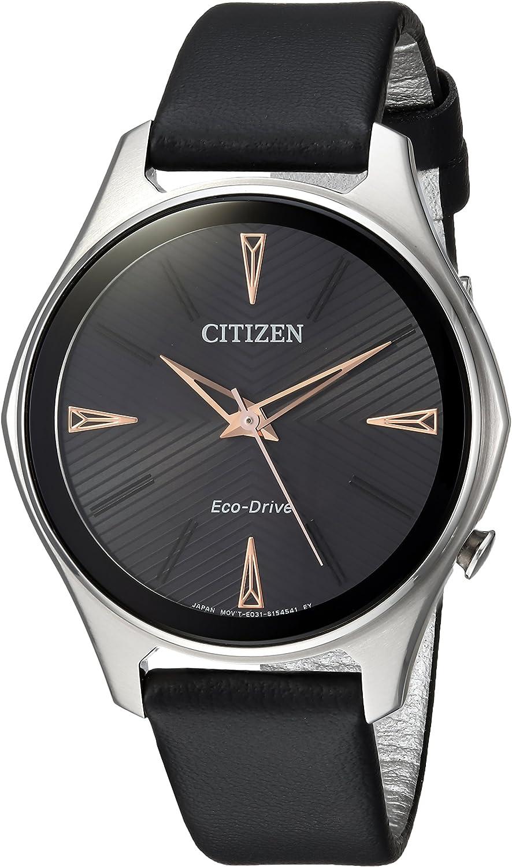 Citizen Women s Eco-Drive Quartz Stainless Steel and Leather Dress Watch, Color Black Model EM0591-01E