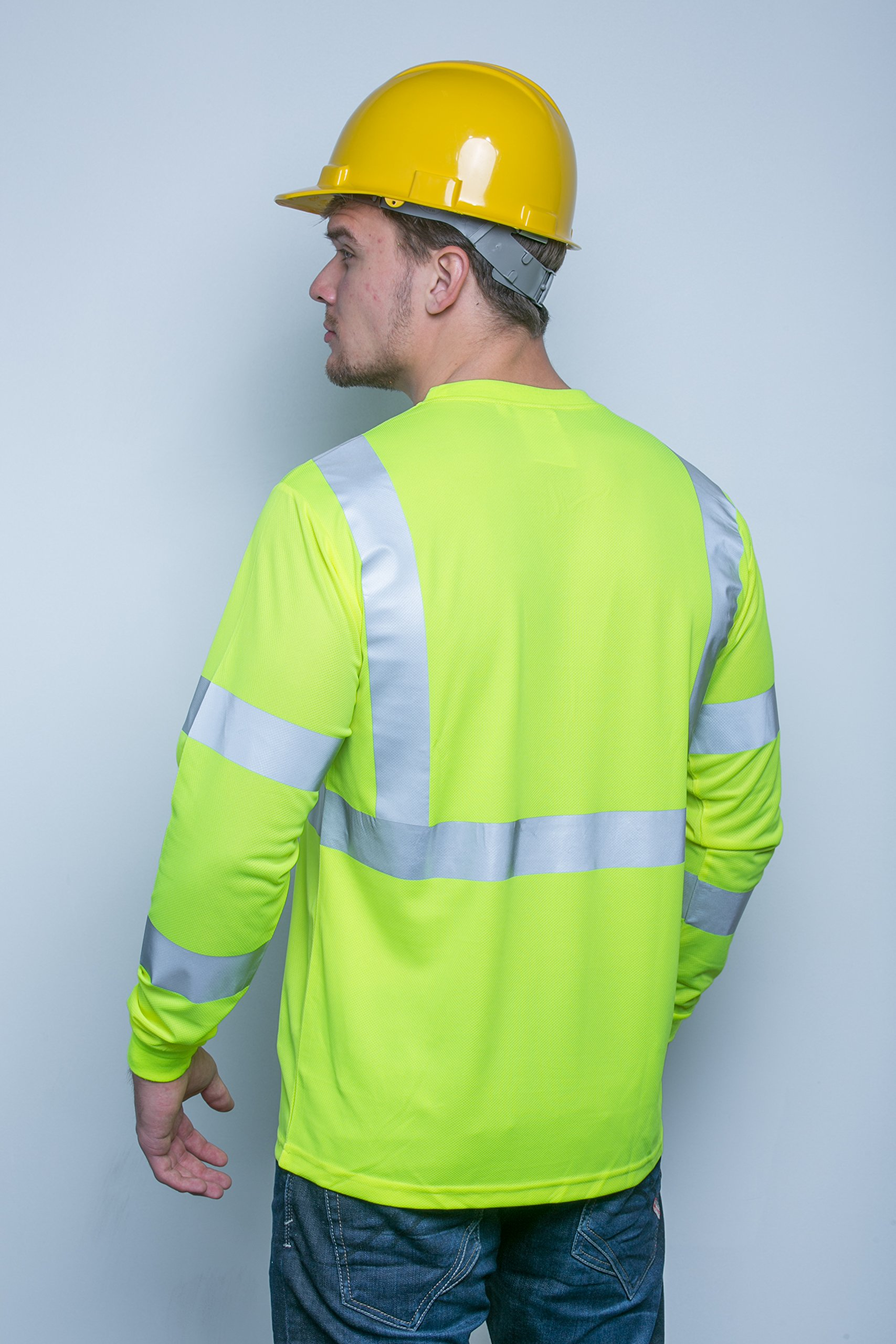 Brite Safety Style 210 Hi Vis Shirt | Long-Sleeve Safety Shirts with Pockets | 3M Scotchlite Reflective Tape | ANSI Class 3 Compliant | Moisture Wicking Shirt for Men & Women (6XL)