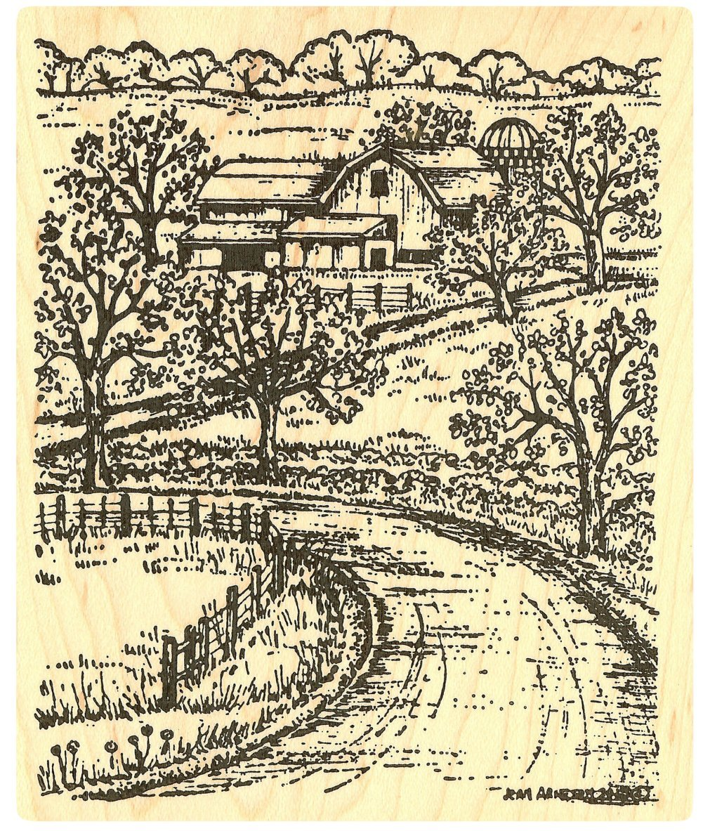 {Single Count} Unique & Custom (4'' by 4 3/4'' Inches) ''Country Farm Barn Scene'' Rectangle Shaped Genuine Wood Mounted Rubber Inking Stamp