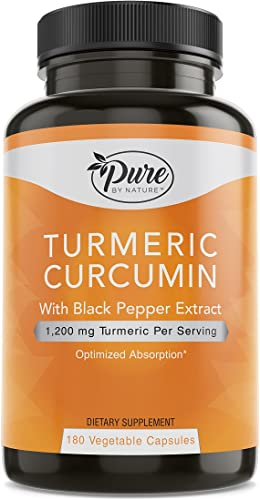 Pure By Nature Turmeric Curcuminoids with Black Pepper Extract 100 Organic, 180 Count
