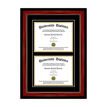 double diploma frame with double matting for 85 x 11 tall diploma with mahogany - Double Degree Frame