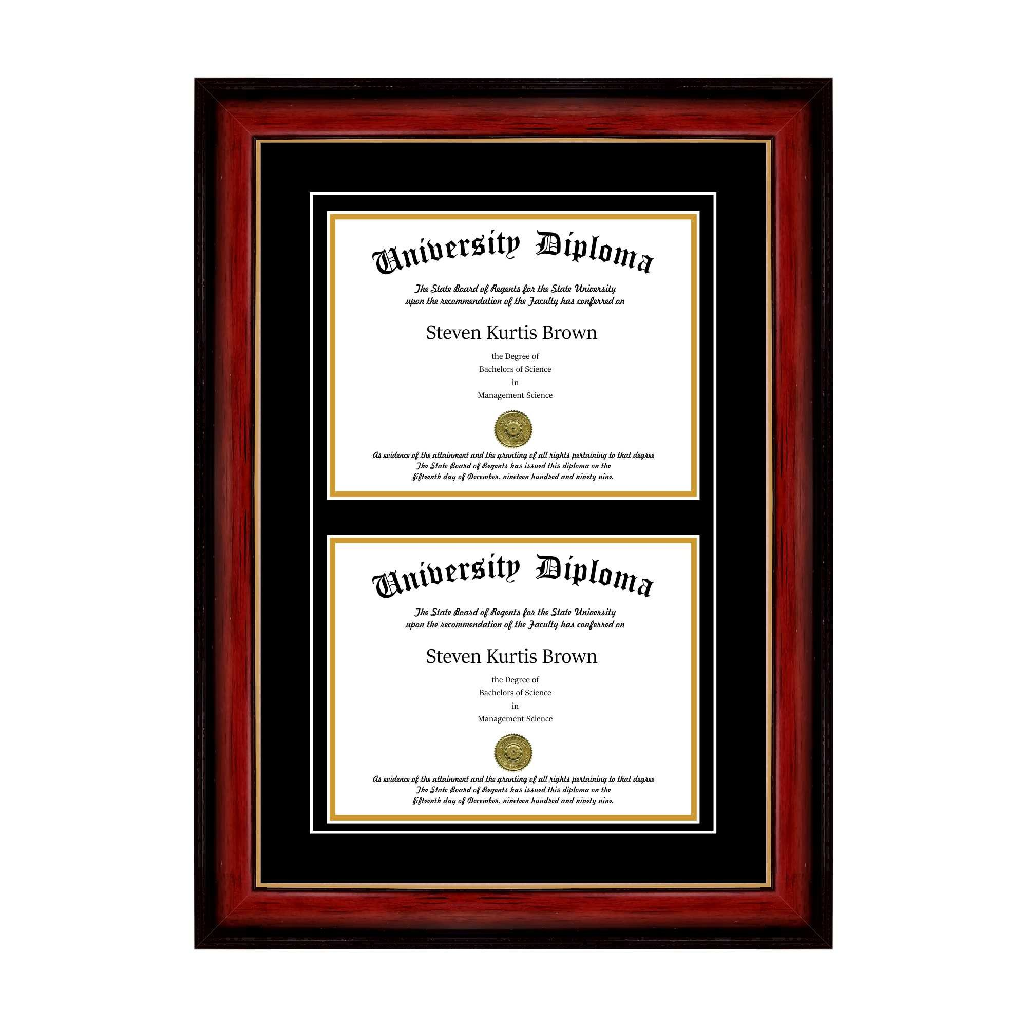 Double Diploma Frame with Double Matting for 8.5'' x 11'' Tall Diploma with Mahogany with Gold Lip 2'' Frame