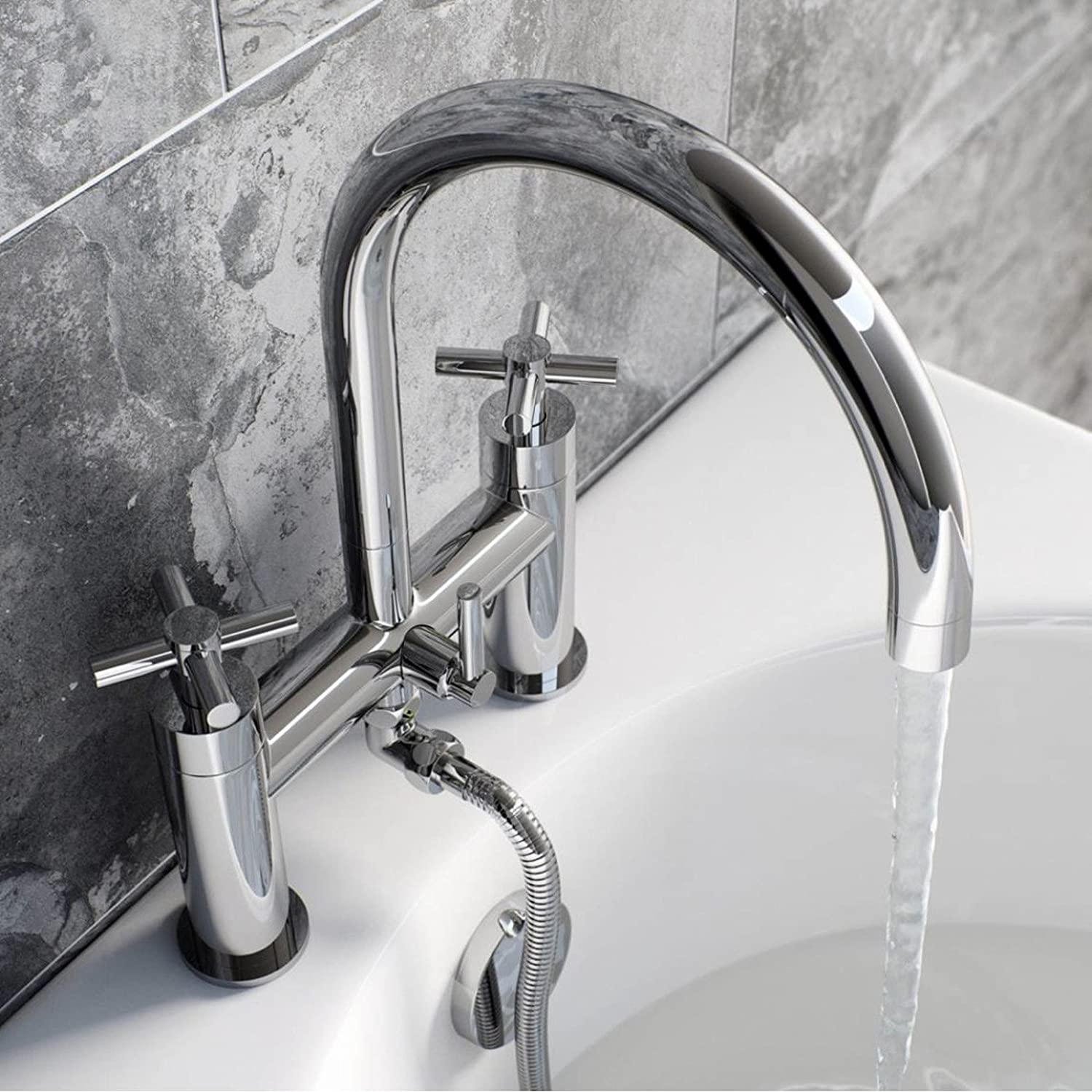 ENKI Modern Cross Handle Bath Filler Mixer Taps Shower Bathroom Chrome Round OXFORD Amazoncouk DIY Tools
