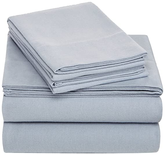 Pinzon Cotton Flannel Bed Sheet Set - Full, Dusty Blue best full-sized flannel sheets