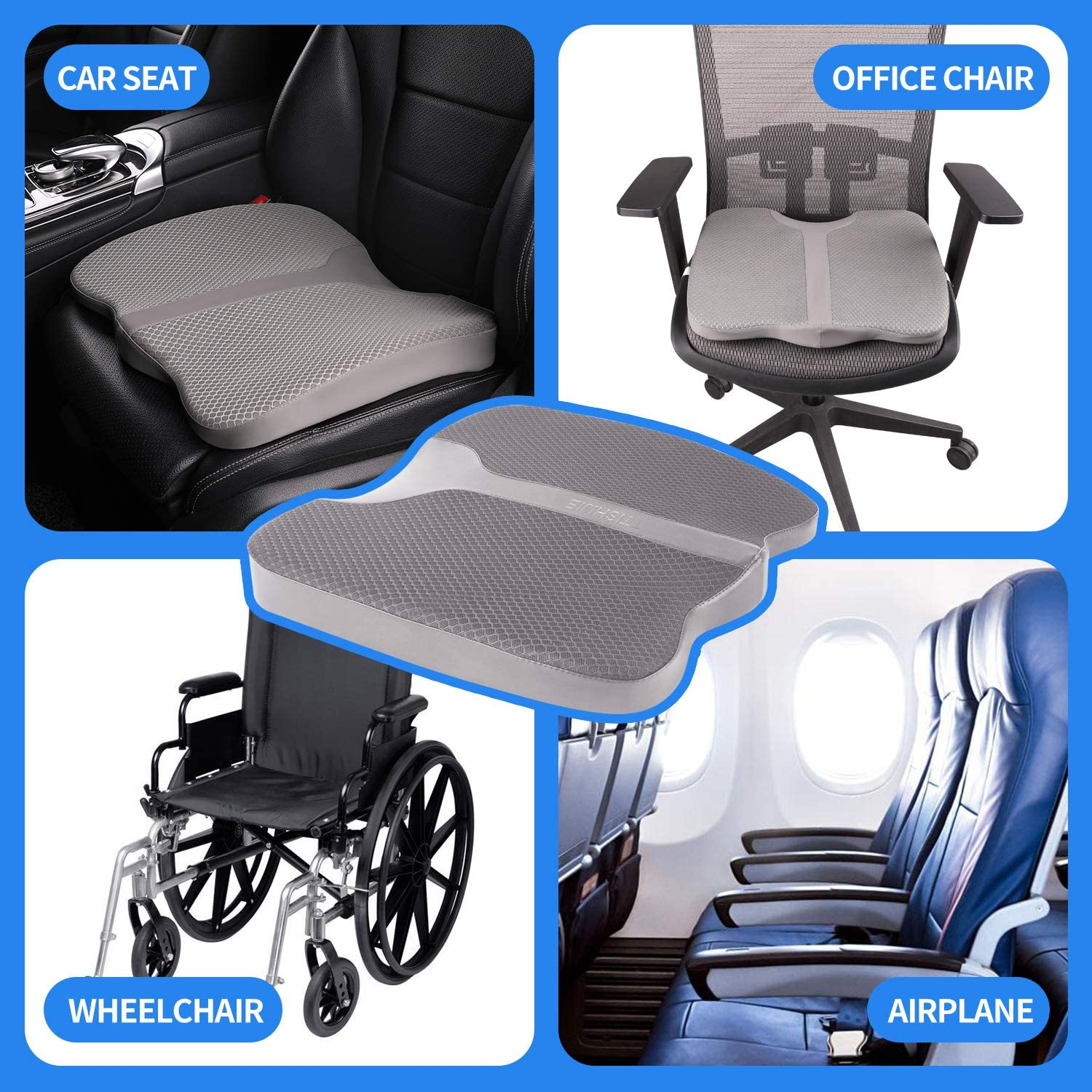 Black Hips TISHIJIE Memory Foam Wedge Car Booster Seat Cushion and Tailbone Pain for Cars Front Seat Relief Back Pain Office Chair and More.