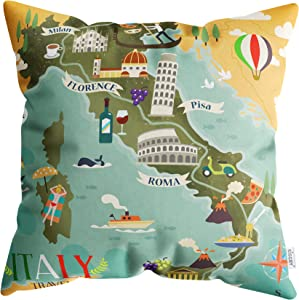 Cultural Italy Map Throw Pillow Cover 18x18 inches - Decorative Artistic Italian Culture Map Cushion Case for Sofa, Bedroom, Car, Office Chair, Home Decor - 1 Cushion Cover, Soft & Washable (45x45cm)