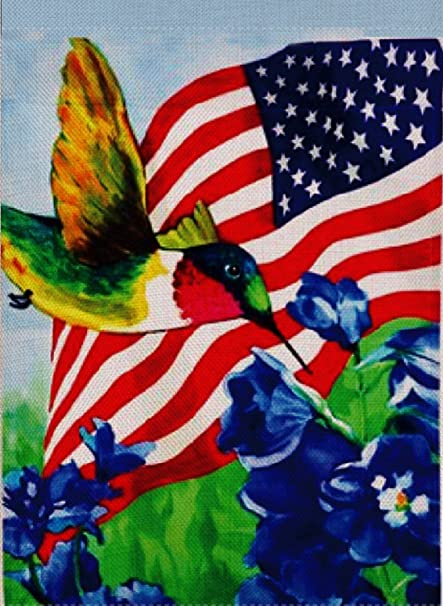 Dyrenson Home Decorative Outdoor 4th Of July Patriotic Hummingbird Garden  Flag Double Sided, America House