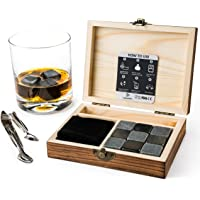 Whisky Stones Gift Set – 9 Reusable Ice Cubes for Men or Women - Present for Christmas, Retirement or Birthday – Ice Stones for Drinking Scottish Whiskey or Gin – for Dad, Grandads 50th, Uncle
