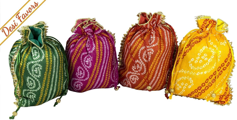 9c3bcf2310 Amazon.com  Desi Favors Set of 4 Assorted Potlis batwa Drawstring  Pouches Silk Party Favour Favor Bags for  Weddings Housewarming Christmas Birthdays Pooja ...