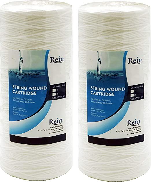 PC10 WP10BB97P WP5BB97P 5 Micron 4.5 x 10 Whole House Big Blue Sediment String Water Filter Replacement Cartridge Compatible with 84637 WPX5BB97P 355214-45 2-Pack 355215-45