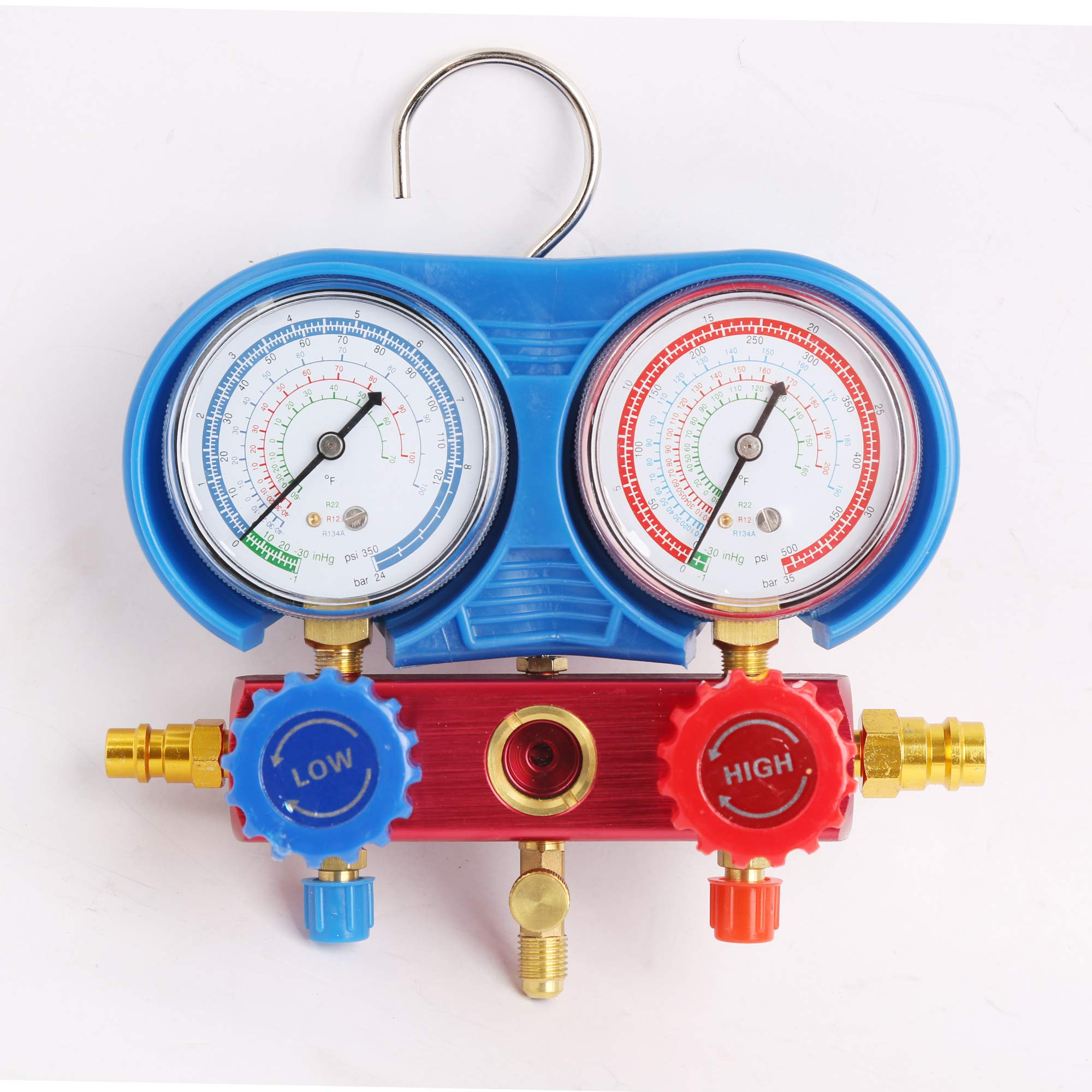 WIN.MAX Professional A/C Air Conditioner Refrigerant Manifold Gauge Kit Set R134a/R22/R12 HVAC + KapscoMoto Keychain by WIN.MAX (Image #3)
