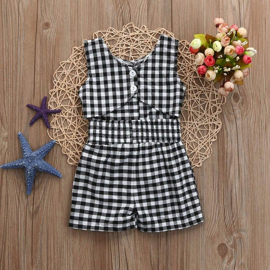 Jarsh Fashion Children Kids Baby Girl Black White Button Plaid Printed Sleeveless Jumpsuit Bodysuit