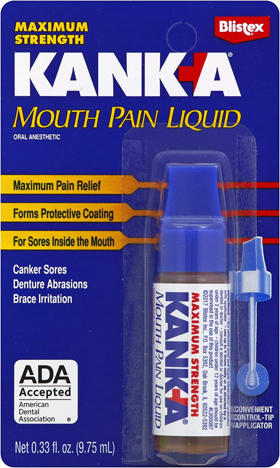 Kank-A Mouth Pain Liquid,Maximum Strength , .33-Ounce