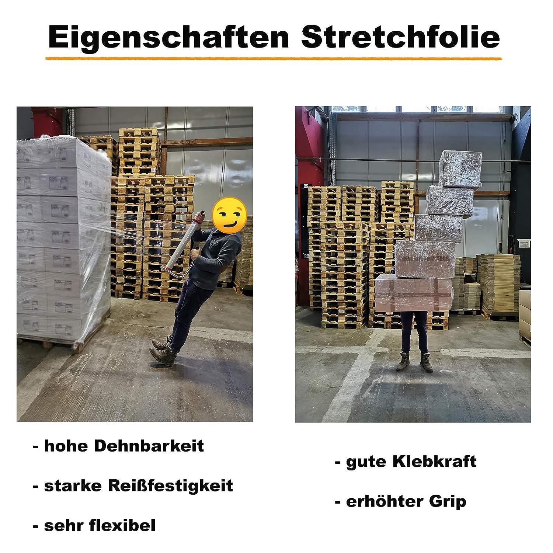 Verpacking Umzugsfolie 23 my transparent 500mm x 300m 6 Rollen inkl Handabroller Stretchfolie Packfolie rei/ßfest