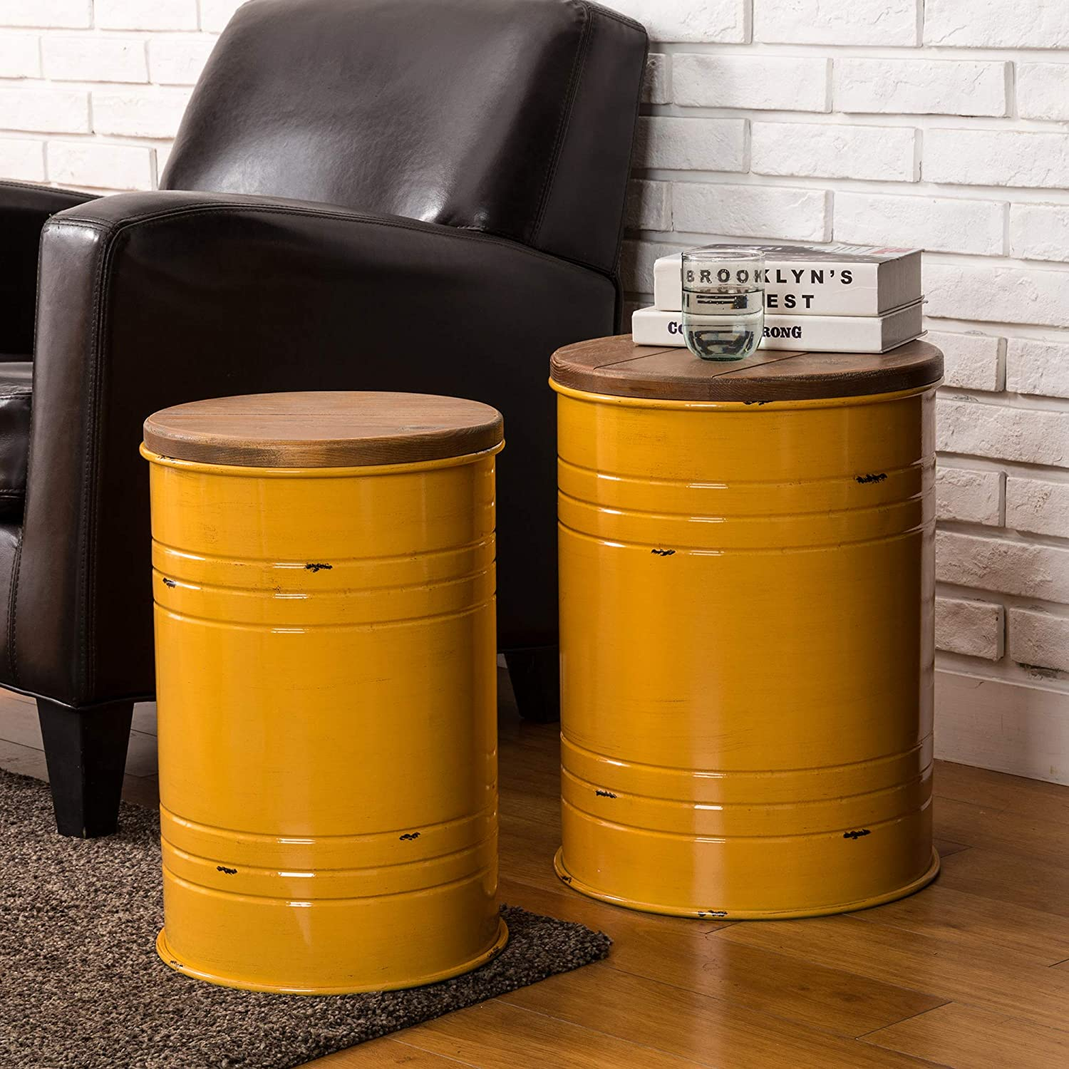 Glitzhome Rustic Storage Ottoman Seat Stool, Farmhouse End Table, Galvanized Metal Accent Side Table Toy Box Bin with Round Wood Lid for Living Room Furniture, Nesting Pieces Two, Yellow