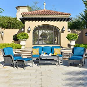 ovios Patio Furniture Sets, 6 Pieces Rattan Wicker Chair Sectional Sofa Deep Seating Conversation Set with Cushions,Table,Backyard, Pool,Porch Garden, Steel Frame(Blue)