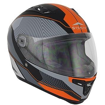 Stealth F117 neón casco de moto de cara completa naranja fluorescente Talla:53-54