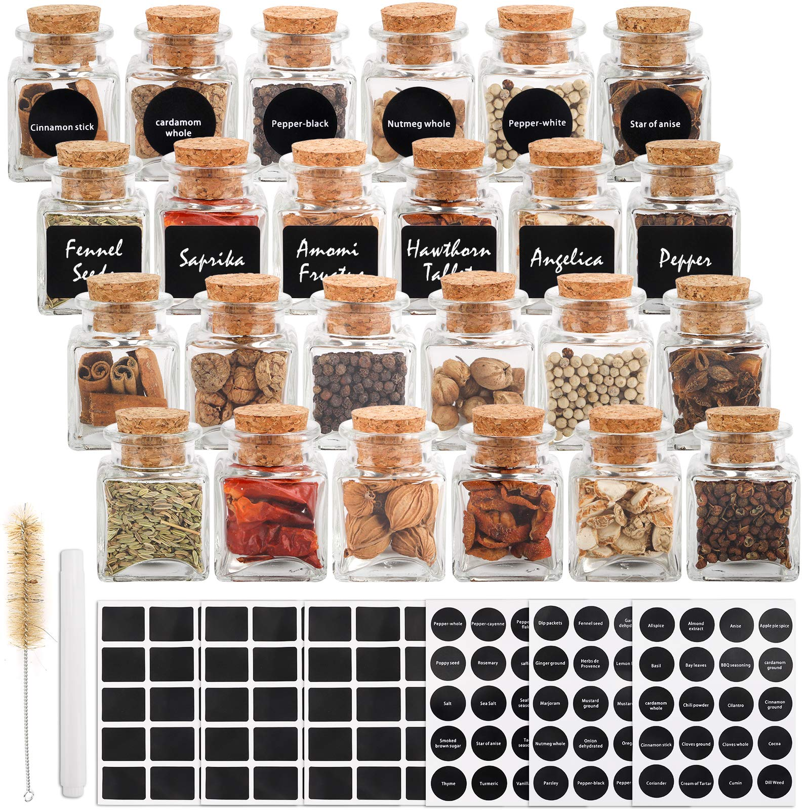 CUCUMI 24pcs 60ml Glass Spice Jars, 2oz Glass Spice Bottles Glass Containers with Cork, 120pcs Waterproof Preprinted Stickers , Chalk Marker, Test Tube Brush for Storing Tea Herbs and Spices