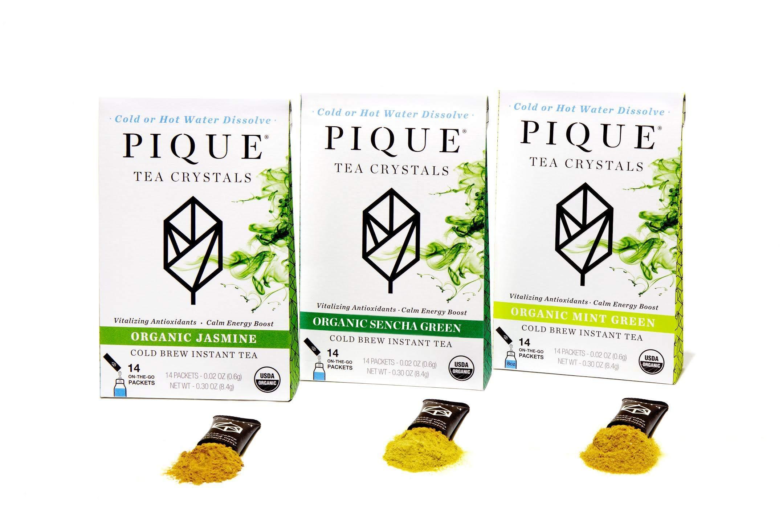 Pique Organic Green Tea Crystals Sampler, Antioxidants, Energy, Gut Health, 42 Single Serve Sticks (Pack of 3)