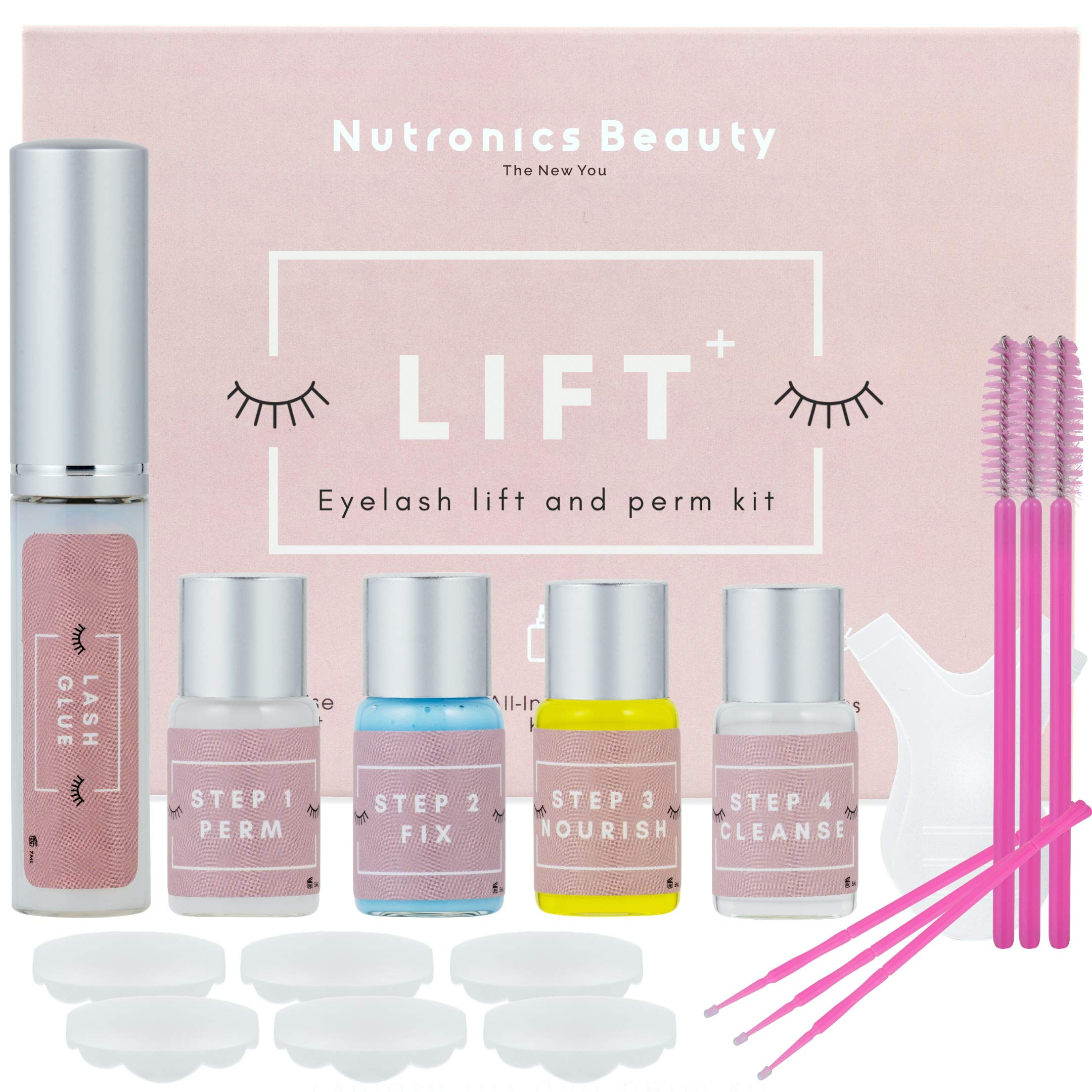 Nutronics Beauty Lash Lift Kit - Premium Home Eyelash Lift Kit, Eyelash Lifting & Perming, All In One Lash Lifting & Curling - Professional Results From Home With 6-12 Months Of Lifted Lashes Per Box