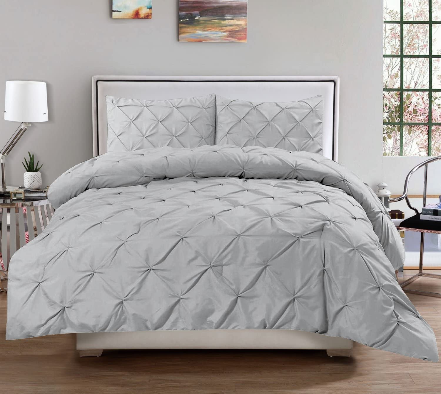 Sweet Home Collection  3 PieceLuxury Pinch Pleat Pintuck Fashion Duvet Set,Silver,Queen
