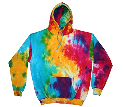Colortone Mens Rainbow Tie-Dye Hoodie Small Multi Rainbow