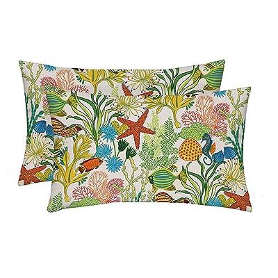 """RSH Décor Indoor Outdoor Multi Color Prints 2-20""""x12"""" Rectangle Lumbar Pillow Set Weather Resistant - Choose Pillow Color (Manele Bay Atlantis Tropical Ocean Fish): Home & Kitchen"""